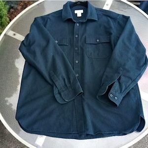 L.L. Bean Mens Blue Chamois L.S. Shirt, XL